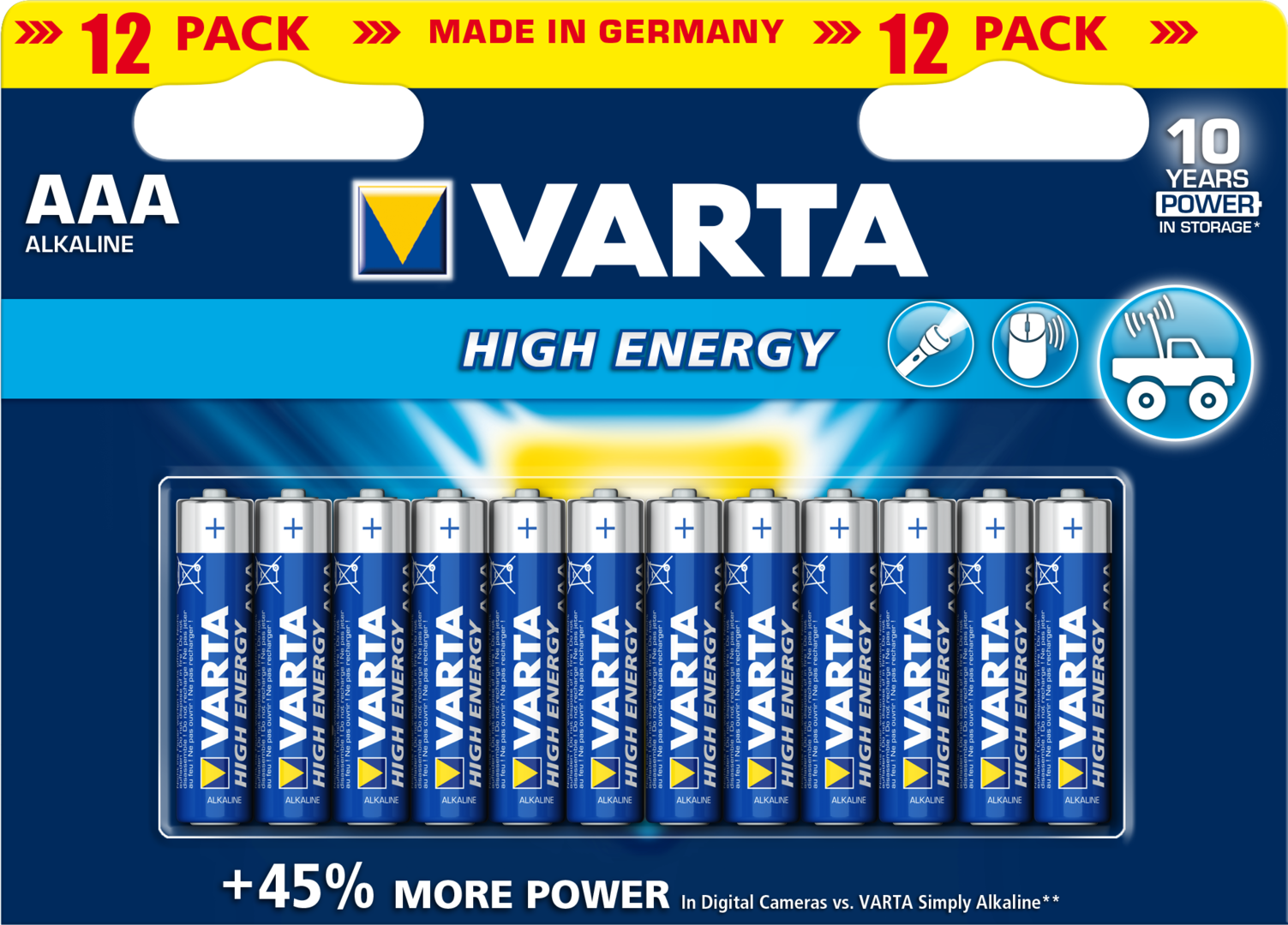 Blister de12 Piles 1.5v VARTA LR03/AAA High Energy